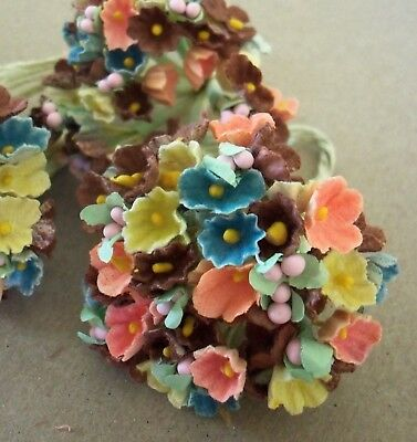 Vintage Millinery / Forget Me Nots / Three Bunches / Autumn Colors