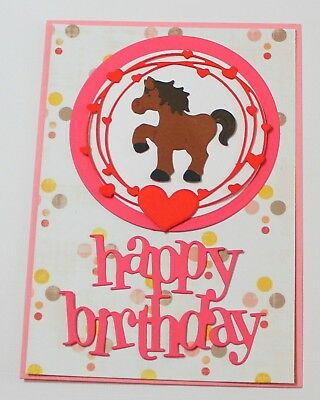 Kids Happy Birthday Handmade Card DIY Card Making Kit Brown Black Horse Pony