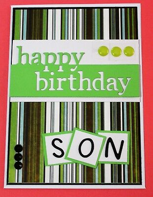 White Happy Birthday Son Handmade Card DIY Card Making Kit Brown Green Stripes