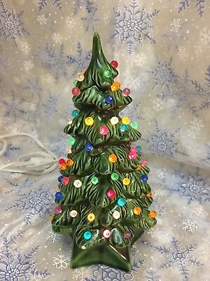 Vintage Holland Mold 7 Inch Ceramic Christmas Tree With Round Bulbs - 9 INCH VINTAGE Holland Mold Light Up Christmas Tree - $9.99 PicClick