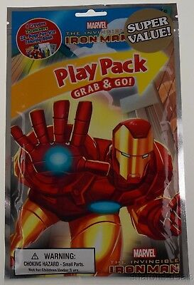 Marvel Iron Man Play Pack Lot 8 Grab Go Coloring Book Crayons Stickers Favor