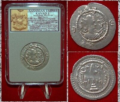 Greek (450 Bc-100 Ad) Coins: Ancient Ancient Silver Coin Sassanian Empire Kavad I Fire Altar Second Reign Drachm