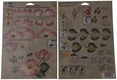 FolkArt One Stroke Painting Lot 35 Reusable Teaching Guide Garden Rose 1168 NEW