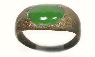 AD200 Roman Pannonia (Hungary) Ring Sz5 + 19thC Antique 2ct Jade Immortality Gem