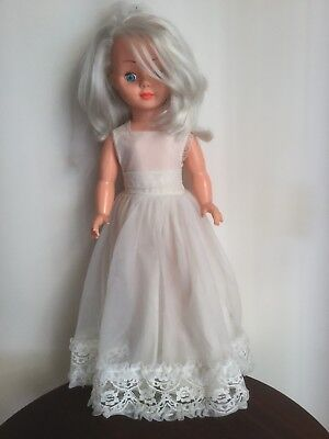 VINTAGE PEDIGREE LARGE 59cm HIGH BRIDE DOLL SILVER HAIR