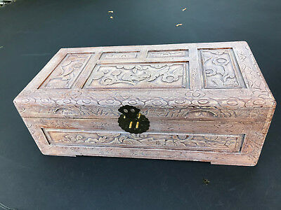 Carved wooden  camphor box
