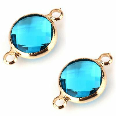 5pcs Turquoise Blue Crystal 14k Gold Plated Round Faceted Glass Focal Bracelet P