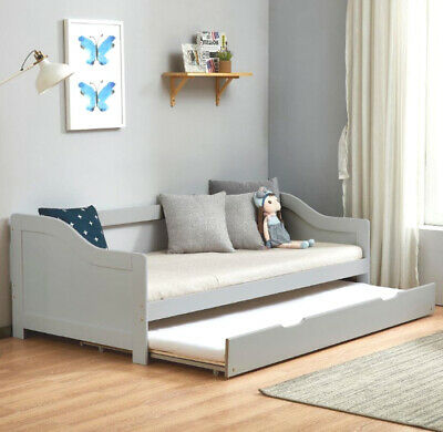 Sofa Pull Out Bed Solid Wood Frame Living Room Guest Modern Sofabed Grey New