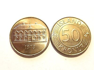KEY DATE - 1973 Iceland 50 Kronur (From Mint Roll)   50,000 Minted