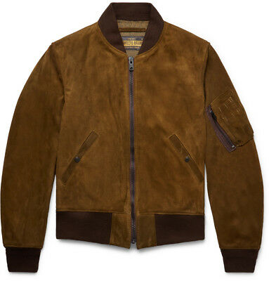 NWT Schott NYC P2MA1 Goat Suede MA-1 Bomber Jacket (Made in USA) RRP $1200