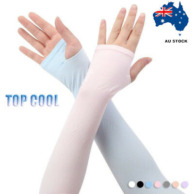 Cooling Arm Stretch Sleeves Sport Outdoor Sun Block UV Protection Covers 1 Pair