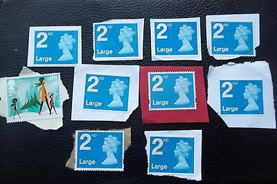 10 x 2nd CLASS  LARGE  UNFRANKED STAMPS ON PAPER, FACE £7.90