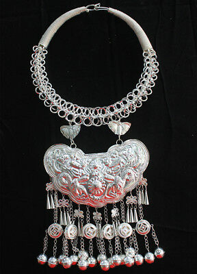 ethnic Miao Silver Handmade dragon Bell tassel necklace