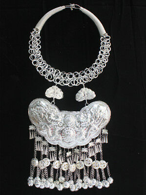 ethnic Miao Silver Handmade dragon Bell tassel butterfly necklace