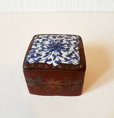 Vintage 1930'S Asian Lacquer Ceramic Box