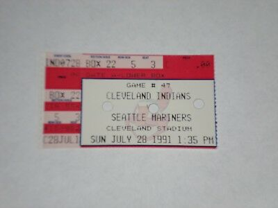 Cleveland Indians vs Seattle Mariners Ticket Stub-1991-Randy Johnson Win