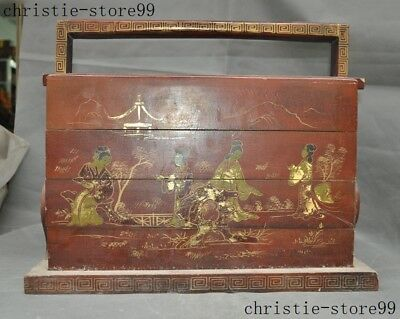China palace lacquerware wood landscape Ancient beauty Portable 3 Layer Food Box