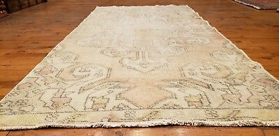 "Rare 1930-1939s Antique Wool Pile 3'1""× 6""7"" Muted Dye Primitive Isparta Rug"