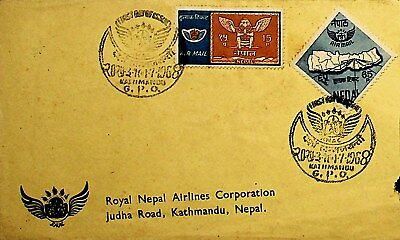 Royal Nepal Air Lines 1968 Cover W/ Special Kathmandu Gpo Cancel