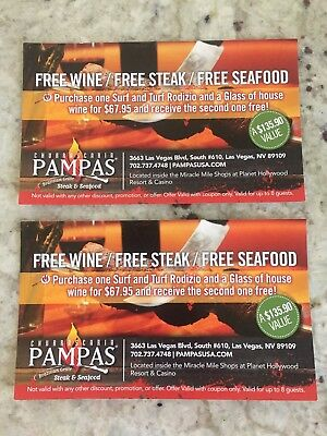 Free Steak And Seafood Dinner At Pampas Grill Brazilian Steakhouse In Las Vegas