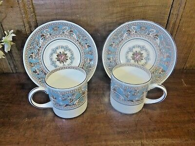 """EXCELLENT UNUSED Wedgwood """"FLORENTINE TURQUOISE"""" SETS 2 COFFEE CUPS and SAUCERS"""