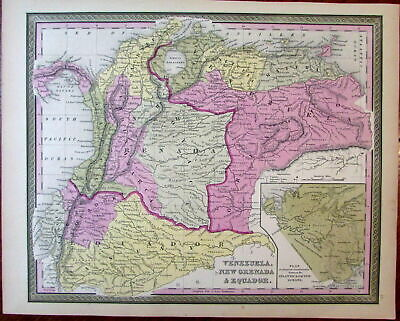 So America Venezuela New Grenada Equador 1851 Cowperthwait Mitchell scarce map