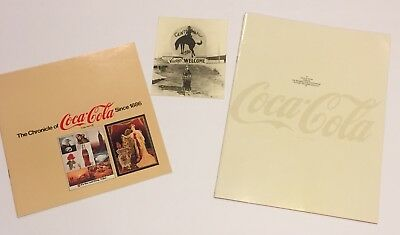 Vtg Chronicle of Coca Cola Booklet & Picture Book Lot Coke Centennial Ad 1972 73