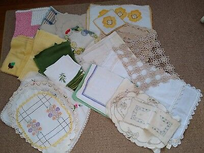 Vintage Antique White Ecru Place Mats Napkins Doilies embroidery cut work LOT 69