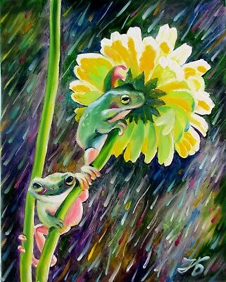 "FROGS AND COLORFUL RAIN 20X16"" Original Oil Painting Realistic by Nadia Bykova"