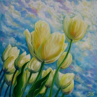 "WHITE TULIPS ON SPRING SKY 24X24"" Hand Painted by Nadia Bykova Realism Flowers"