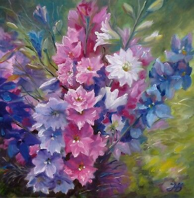 """Summer Bouquet 24X24"""" Hand Painted by Nadia Bykova Realism Flowers Garden Gift"""