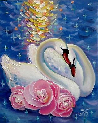 "SWAN`S FAITHFULNESS 20X16"" Original oil painting Impasto Art by Nadia Bykova"