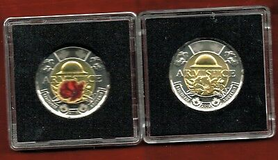 2X Armistice1918-2018 100Th Anniversary Toonies.non -And Coloured Poppy In Cases