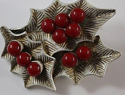 Vintage Christmas Brooch Pin  Holly Leaves Berries White Enamel signed DODDS