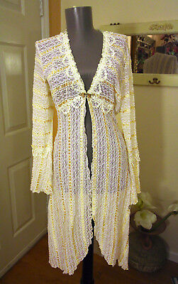 CLAIRE PETTIBONE wedding bridal honeymoon ivory lace robe Medium M NWOT