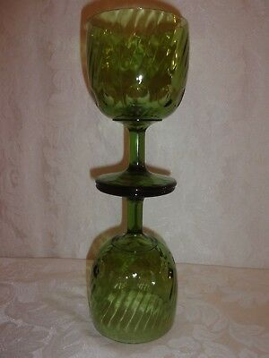 Vintage Collectibles Nice Set Of Two Green Thumb Print Pedestal Footed Goblets