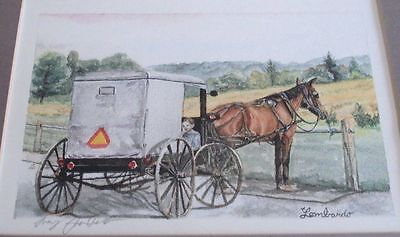 LARRY LOMBARDO Pennsylvania Artist Framed/glass signed in pencil litho Buggy