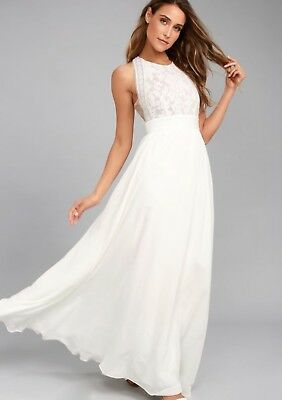 1a399ae1848a9 LULUS FOREVER AND Always White Floral Lace Maxi Dress Size Small ...
