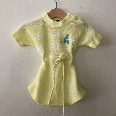 Vintage Baby Girls Yellow Knit Romper Size 3 - 6 Months