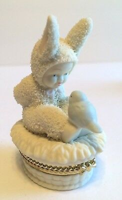"Snowbunnies ""Tweet Tweet Tweet"" Bisque Porcelain Hinged Box Dept 56 New (other)"