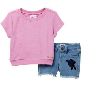 ae2d19156 NEW HUDSON JEANS Terry Cloth Pullover Top & Shorts Set, Baby Girls, 18  months
