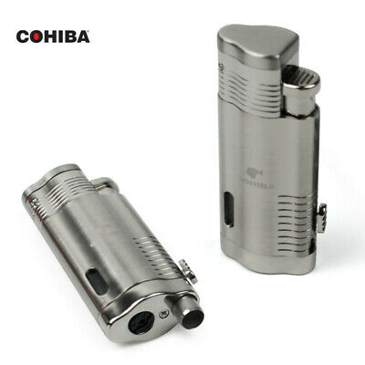 COHIBA Chrome Torch Jet Flame Cigar Cigarette Lighter W/Punch Silver