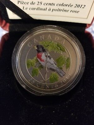 2012 Rose-Breasted Grosbeak 25 Cent Coloured Coin*sold Out At Mint*