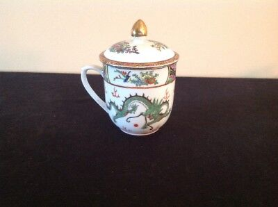 Vintage Hand Painted Covered China Tea Cup Mug; Flowers & Dragons; FREE SHIP