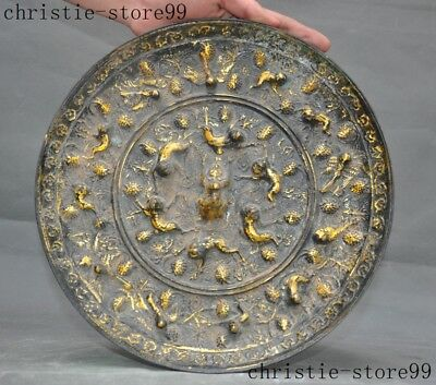 A China Chinese Bronze Gilt Lion Foo dog Gods Beast Statue Ancient Round Mirror