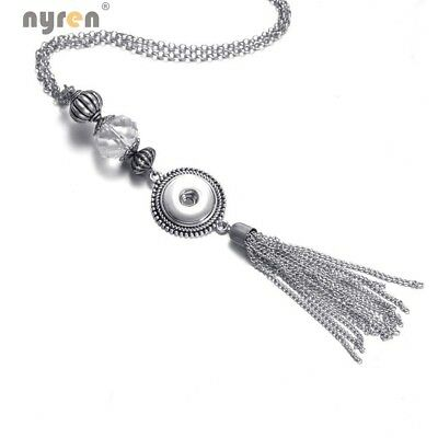40pcs Tassel Pendant Necklace Women Snaps Jewelry Fit 18mm Snap Button  DZ1728