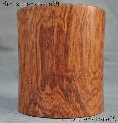 Old China Chinese Precious Huanghuali wood Hand carved Brush Pot Pencil Vase