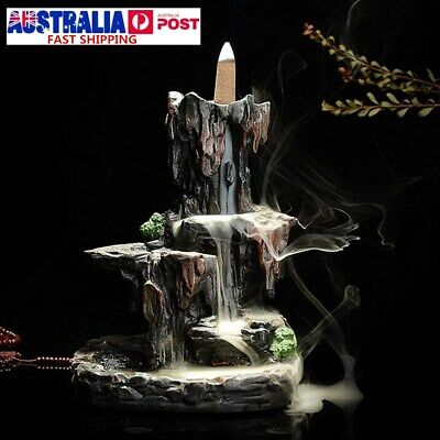 Backflow Ceramic Mountain Waterfall Smoke Incense Burner Cones Holder + 7 Cone