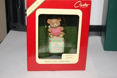 """1994 Heirloom """" Baby's 2nd Christmas"""" Christmas Ornament New in Box"""