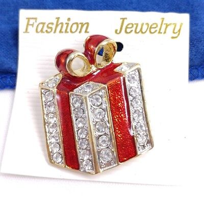 (W) Enamel Bow Present Box Gift Rhinestone Gold CHRISTMAS Holiday Brooch Pin